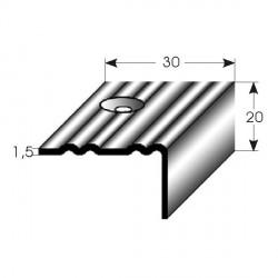 Nerezová schodová hrana 20x30x1,5mm, profilované drážky