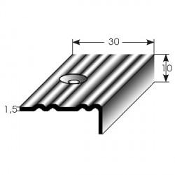 Nerezová schodová hrana 10x30x1,5mm, profilované drážky