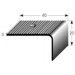 Nerezová schodová hrana 20x40x3 mm, s protiskluzovými drážkami, hraněná,vrtaná