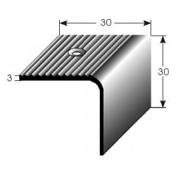 Nerezová schodová hrana 30x30x3 mm, s protiskluzovými drážkami, hraněná,vrtaná