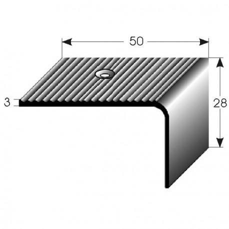 Nerezová schodová hrana 50x28x3 mm, s protiskluzovými drážkami, hraněná,vrtaná