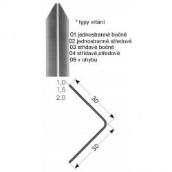 Ochrana rohů 30x30 mm, jedenkrát hraněná, nerez kartáčovaná - vrtaná