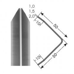Ochrana rohů 50x50 mm, třikrát hraněná, nerez kartáčovaná - samolepící