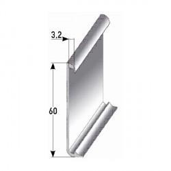 Soklové lišty 60x10x3,2 mm pro vlepení desing. podl. až 3 mm, Al eloxovaná, vrtaná