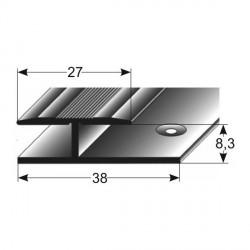 Laminát- přechod jednodílný,27x8,3x38 mm, Aluminium elox., vrtaný