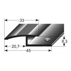 Laminát- výškové vyrovnání, jednodílné,33x8,3x45m, Aluminium, elox,vrtaný