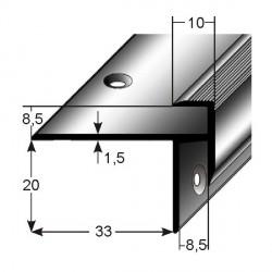 Schodová hrana pro laminát 20 x 33 x 8,5 mm, aluminium, 2x vrtaná s SB balením