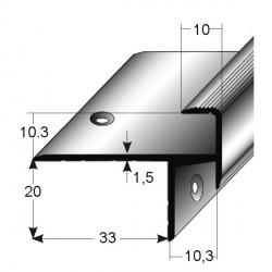 Schodová hrana pro laminát 20 x 33 x 10 mm, aluminium, 2x vrtaná s SB balením