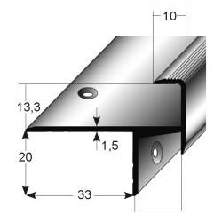 Schodová hrana pro laminát 20 x 33 x 13 mm, aluminium, 2x vrtaná
