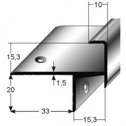 Schodová hrana pro laminát 20 x 33 x 15 mm, aluminium, 2x vrtaná
