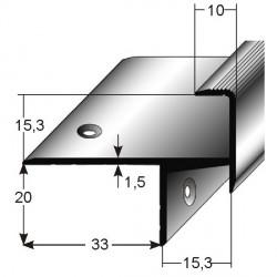 Schodová hrana pro laminát 20 x 33 x 15 mm, aluminium, 2x vrtaná s SB balením