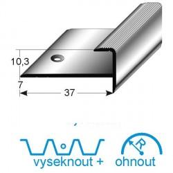 Zásuvný profil s nosem pro parkety 10mm, aluminium, elox. vrtaný
