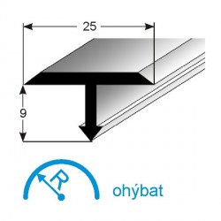 T-profil pro přechody 25x9 mm (vnitřní rozměr)
