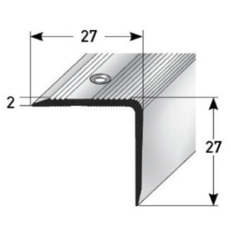 Schodová hrana 27 x 27 mm, aluminium, eloxovaná, vrtaná s SB balením
