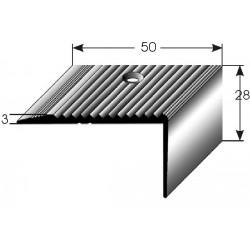Schodová hrana 28x50 mm Aluminium elox., vrtaná