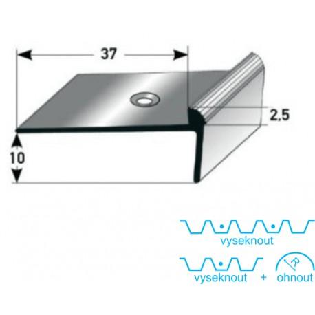 Schodová hrana 10 x 37 x 2,5 mm, Al elox., vrtaná  s SB balením
