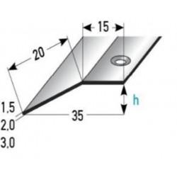 Výškové vyrovnání 15x20x1,5 / 2 / 3 mm, nerez matná, vrtaná