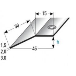 Výškové vyrovnání 15x30x1,5 / 2 / 3 mm, nerez matná, vrtaná