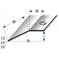 Výškové vyrovnání 20x50x1,5 / 2 / 3 mm, nerez matná, vrta