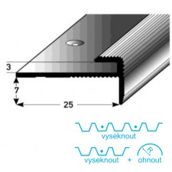 Zásuvný profil 3 mm s nosem, Aluminium elox., vrtaný