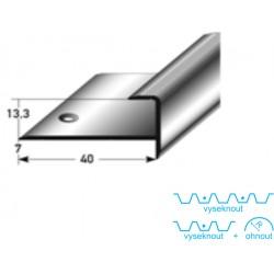 Zásuvný profil s nosem pro parkety 13 mm, aluminium, elox., vrtaný