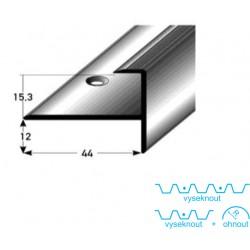 Zásuvný profil s nosem pro parkety 15 mm, aluminium, elox., vrtaný