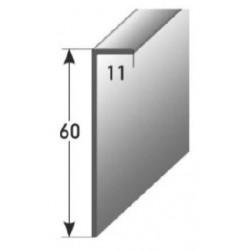 Soklová lišta pro vlepení 60 x 11 mm, aluminium