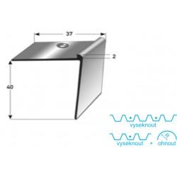 Schodová hrana 40 x 37 x 2 mm Aluminium, elox., vrtaná s SB balením