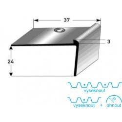 Schodová hrana 24 x 37 x 3 mm Aluminium, elox., vrtaná