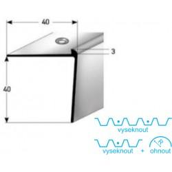 Schodová hrana 40 x 40 x 3 mm, aluminium, eloxovaná, vrtaná s SB balením
