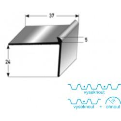 Schodová hrana 24 x 37 x 5 mm Aluminium, elox., vrtaná