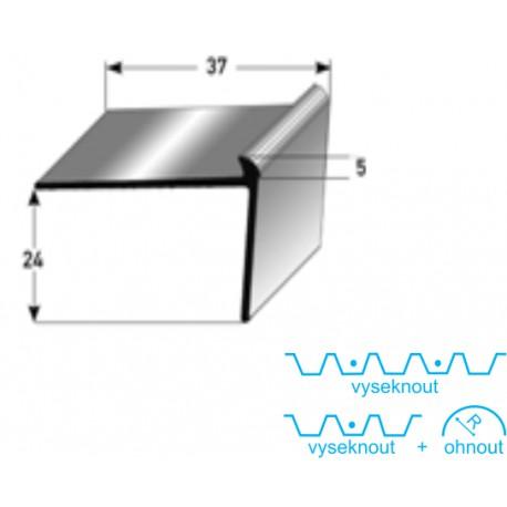Schodová hrana 24x37x5 mm Aluminium, vrtaná