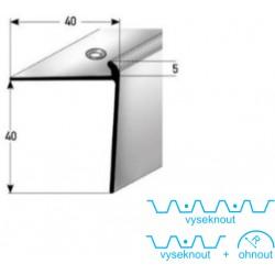 Schodová hrana 40 x 40 x 5 mm, aluminium, eloxovaná, vrtaná s SB balením
