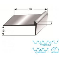 Schodová hrana 10 x 37 x 7 mm, Al eloxovaná, vrtaná s SB balením