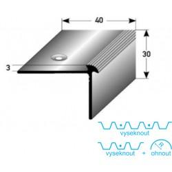 Schodová hrana 40x30x3 mm Aluminium elox., vrtaná