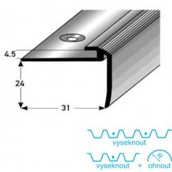 Schodový zásuvný profil 24 mm s nosem, Aluminium elox., vrtaný s SB balením