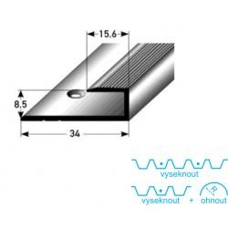 Zásuvný profil pro laminát 8 mm, aluminium, elox., vrtaný