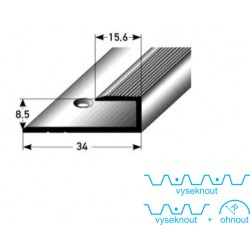 Zásuvný profil pro laminát 8 mm, aluminium, elox., vrtaný s SB balením