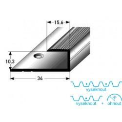 Zásuvný profil pro parkety 10 mm, aluminium elox., vrtaný