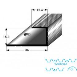 Zásuvný profil pro parkety 15 mm, aluminium elox., vrtaný dřevodekor folie