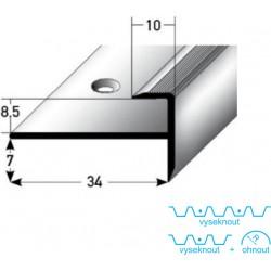 Zásuvný profil s nosem pro laminát 8,5 mm, aluminium, elox., vrtaný