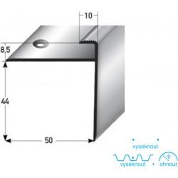 Zásuvný profil s velkým nosem pro laminát 8,5 mm, aluminium, elox., vrtaný