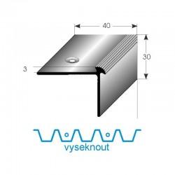 Vyseknutí upevňovacího ramene pro schodovou hranu 40x30x3 mm Aluminium elox., vrtaná