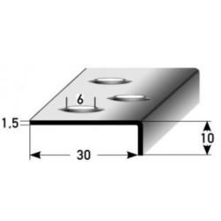 Schodová hrana s prolisovaným děrováním 10 x 30 x 1,5 mm, vrtaná, nerez matný, s ochrannou folií