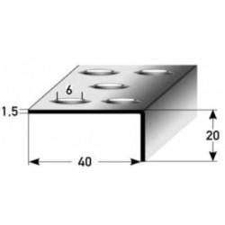 Schodová hrana s prolisovaným děrováním 20 x 40 x 1,5 mm, vrtaná, nerez matný, s ochrannou folií