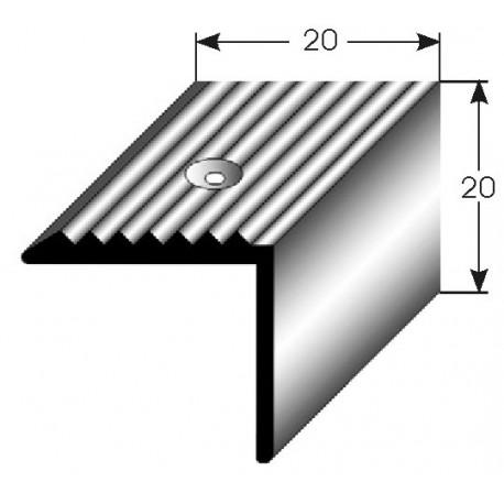 Schodová hrana 20x20 mm Aluminium elox., vrtaná