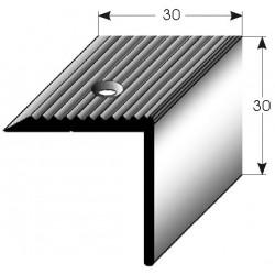 Schodová hrana 30x30 mm Aluminium elox., vrtaná