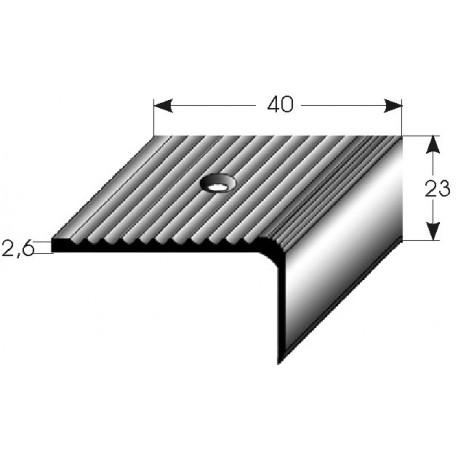 Schodová hrana 23x40 mm Aluminium elox., vrtaná s SB balením