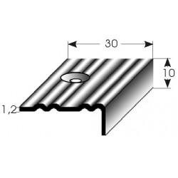 Schodová hrana 10x30x1,2 mm mosaz, profilované drážky, vrtaná