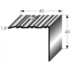 Mosazná schodová hrana 40x40x1,5 mm, profilované drážky
